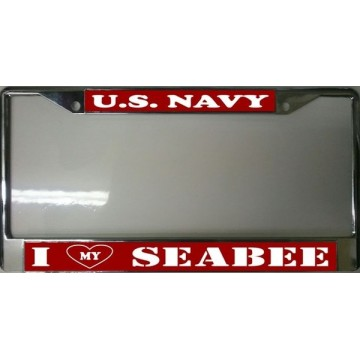 U.S. Navy I Heart My Seabee Chrome License Plate Frame