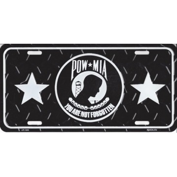 P.O.W-M.I.A. Embossed Diamond Metal License Plate