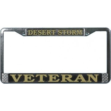 Desert Storm Veteran Chrome License Plate Frame