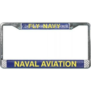 U.S. Navy Fly Navy Naval Aviation Chrome License Plate Frame