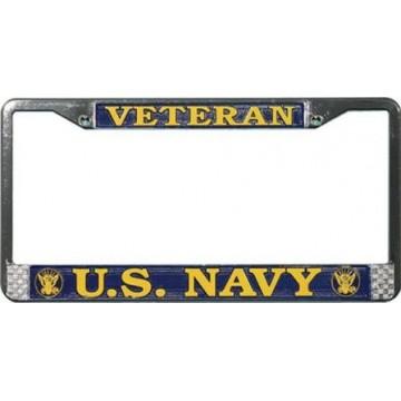 U.S. Navy Veteran Chrome License Plate Frame