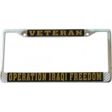 Operation Iraqi Freedom Chrome License Plate Frame