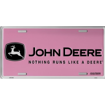 John Deere Pink Metal License Plate