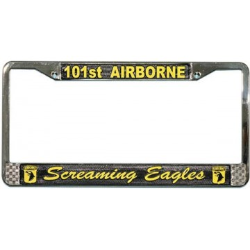 U.S. Army 101st Airborne Screaming Eagles Chrome License Plate Frame