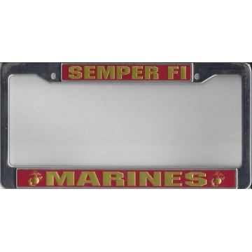 Marines Semper Fi Chrome License Plate Frame