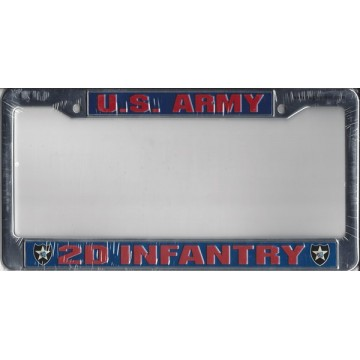 U.S. Army 2d Infantry Chrome License Plate Frame