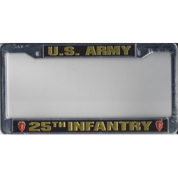 U.S. Army 25th Infantry Chrome License Plate Frame