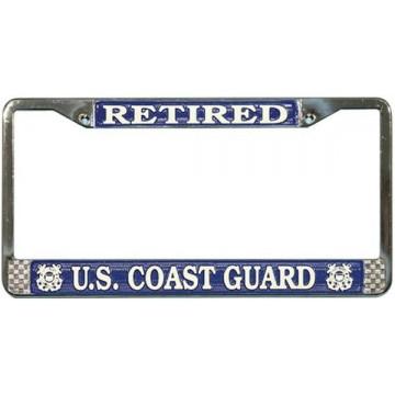 U.S. Coast Guard Retired Chrome License Plate Frame
