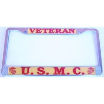 U.S. Marines Veteran Chrome License Plate Frame