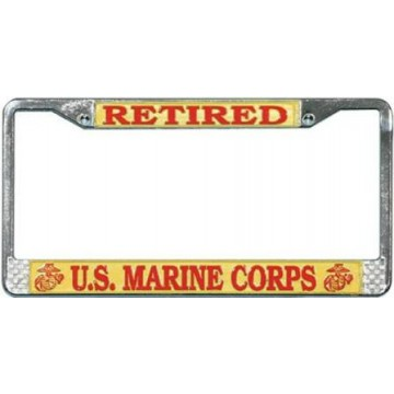 U.S. Marine Retired Chrome License Plate Frame