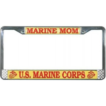U.S. Marine Mom Chrome License Plate Frame