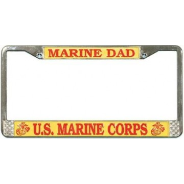 U.S. Marine Dad Chrome License Plate Frame