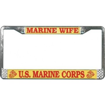U.S. Marine Wife Chrome License Plate Frame