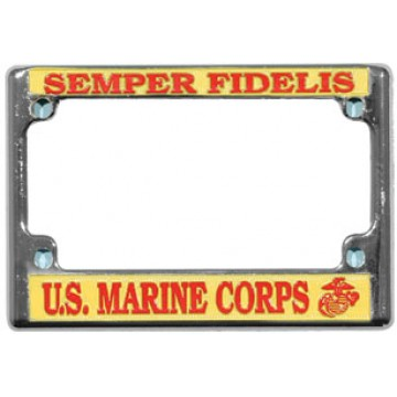 Semper Fidelis Chrome Motorcycle License Plate Frame