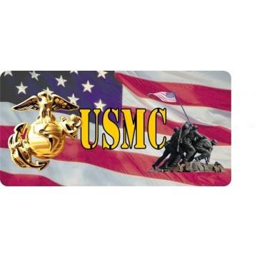 Marine Logo With Iwo Jima Photo License Plate