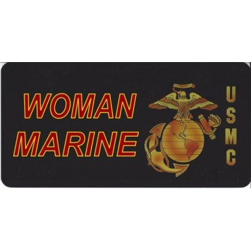 Marine Woman On Black Photo License Plate