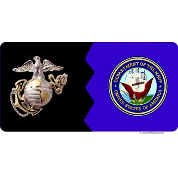 Marines / Navy House Divided Photo License Plate