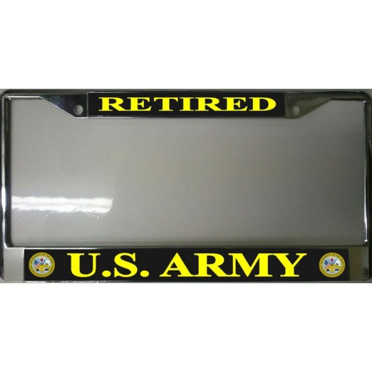 U.S. Army Retired Chrome License Plate Frame
