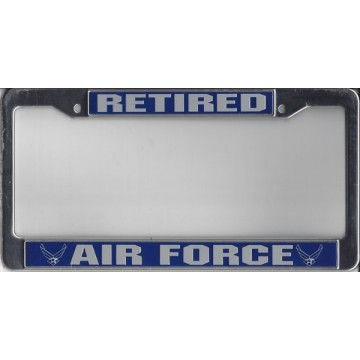Air Force Retired Chrome License Plate Frame