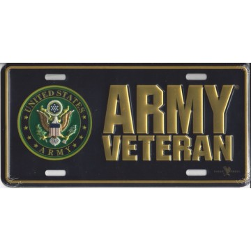 Army Veteran Metal License Plate