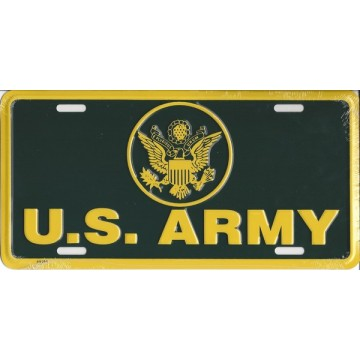 U.S. Army Olive And Yellow Metal License Plate