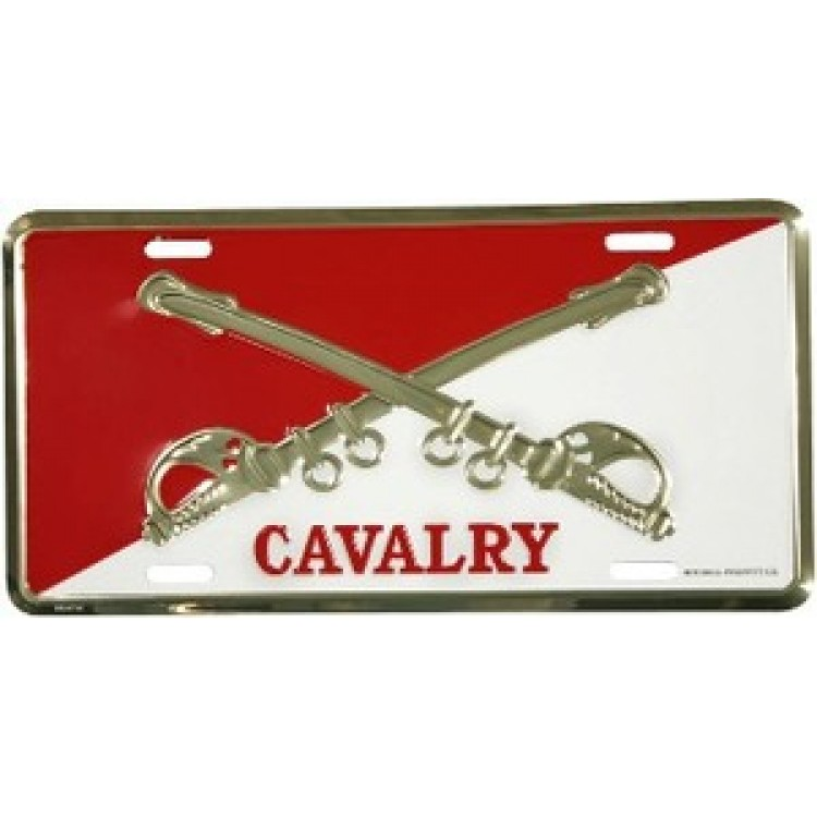 Cavalry Crossed Swords Red And White License Plate