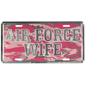 Air Force Wife On Pink Camo License Plate