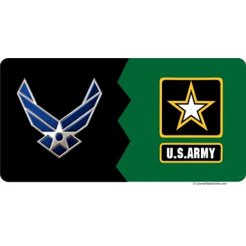 Air Force And Army House Divided Photo License Plate
