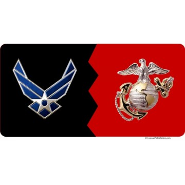 Air Force / Marines House Divided Photo License Plate