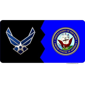 Air Force / Navy House Divided Photo License Plate