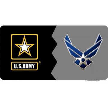 Army / Air Force House Divided Photo License Plate