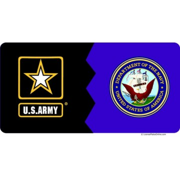 Army / Navy House Divided Photo License Plates