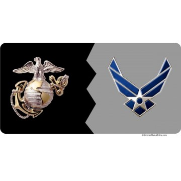 Marines / Air Force House Divided Photo License Plate