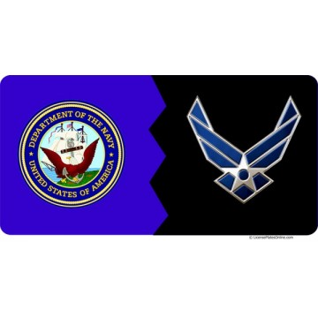Navy / Air Force House Divided Photo License Plate