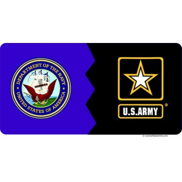 Navy / Army House Divided Photo License Plate