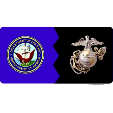 Navy / Marines House Divided Photo License Plate