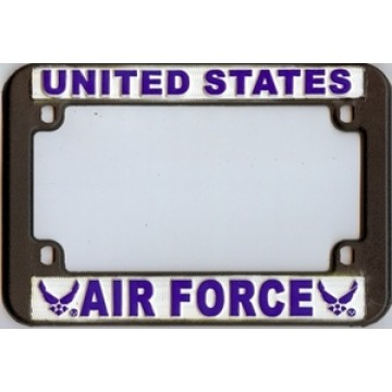 U.S. Air Force Black Plastic Motorcycle License Plate Frame