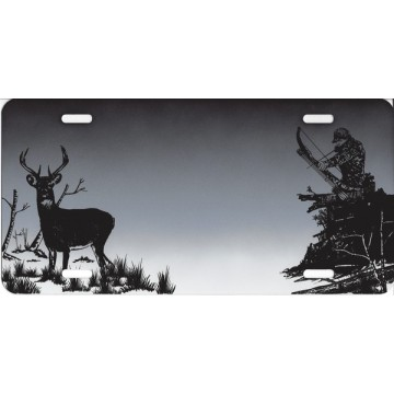 Bowhunter and Deer Airbrush License Plate