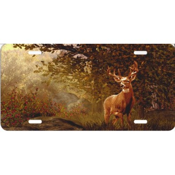 Buck In The Woods Offset License Plate
