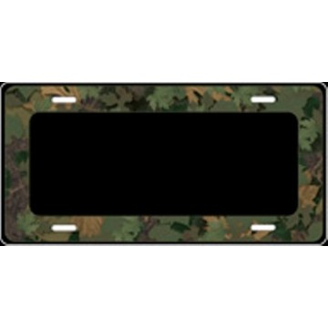Black With Camo Border Airbrush License Plate
