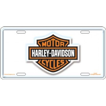 Harley-Davidson Bar and Shield White License Plate