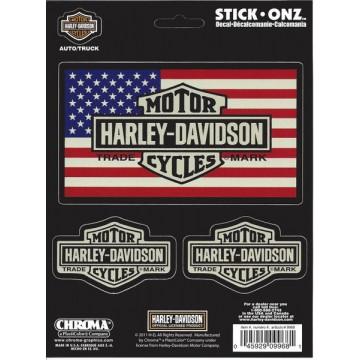 Harley-Davidson Bar and Shield American Flag Decal