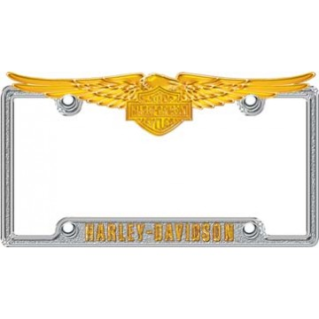 Silver & Gold Harley-Davidson Eagle License Plate Frame