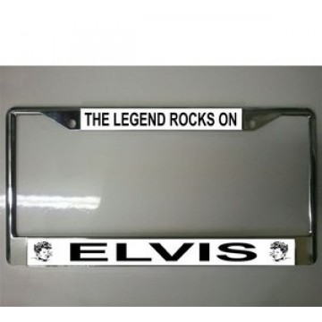 Elvis, The Legend Rocks On Chrome License Plate Frame