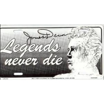 James Dean Legends Never Die Metal License Plate