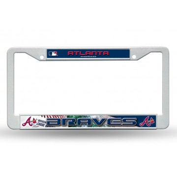 Atlanta Braves White Plastic License Plate Frame