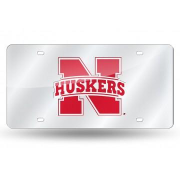 Nebraska Cornhuskers Silver Laser License Plate