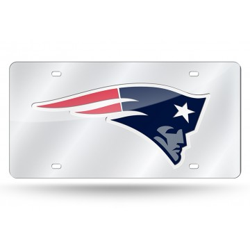 New England Patriots Silver Laser License Plate