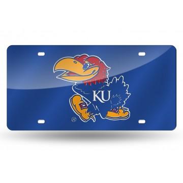 Kansas Jayhawks Blue Laser License Plate