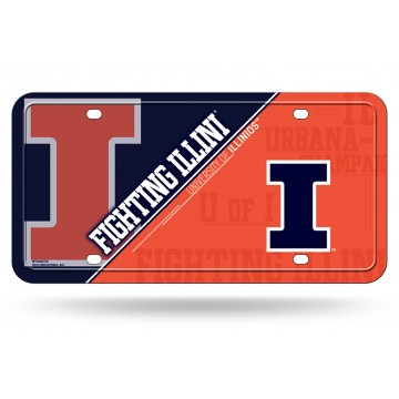 Illinois Fighting Illini Metal License Plate